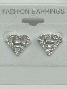 Crystal Superman Stud Earring